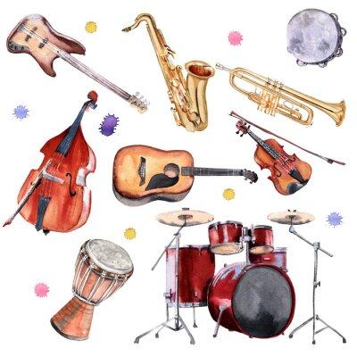 Obraz Instrumenty muzyczne. Saksofon, perkusja, kontrabas, gitara, skrzypce i trąbka.