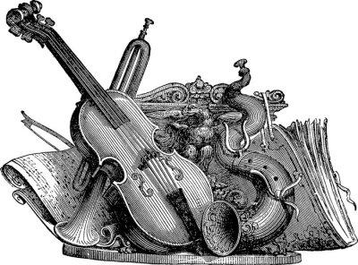 Obraz instrumenty muzyczne Vintage ciągnienia