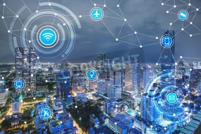Obraz Inteligentne miasto i sieć łączności bezprzewodowej, IoT (internet rzeczy), era internetu, internet wszystkich rzeczy, internet w codziennym życiu