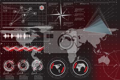 Interfejs HUD. Futurystyczny interfejs użytkownika elementy HUD i Infographic. Streszczenie wirtualny interfejs graficzny dotykowy. Interfejs użytkownika hud infographic zestaw elementów sieci web. Cz