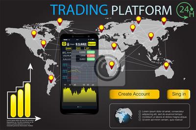 Interfejs użytkownika HUD dla aplikacji biznesowych. Rynek rynkowy Opcja binarna. Ustaw web płaskie elementy Infographic, mapę, diagramy. Streszczenie wirtualnej grafiki. Futurystyczny interfejs użytk