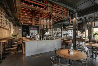 Obraz Interior of modern cafe in loft style