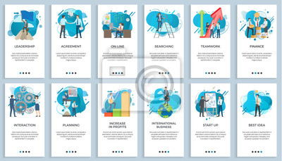 Obraz International business vector, startup businessman do presentation of board best idea and solution of project problems, teamwork and increase in profits. For business website or app slider flat style