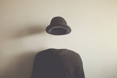 Obraz invisible man wearing black bowler, surreal concept of absence of identity