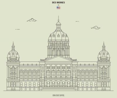 Iowa State Capitol in Des Moines, USA. Landmark icon
