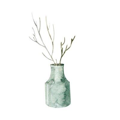 Obraz Isolated hand painted ethnic vase. Watercolor bohemian vase
