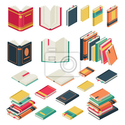 Obraz Isometric book collection. Opened and closed books set for school library publishing dictionary textbook magazine vector set