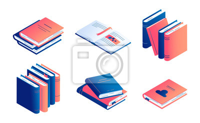 Obraz Isometric book vector illustration set - isolated closed and open paper literature or diary.