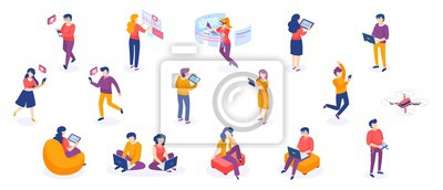 Obraz Isometric people and gadgets. Young men and women characters with smartphones and gadgets. Vector modern freelance business people on white background