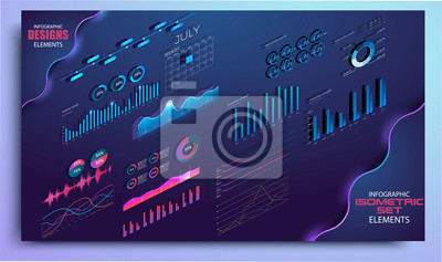 Isometric set of infographics with data financial graphs or diagrams. Modern infographic vector