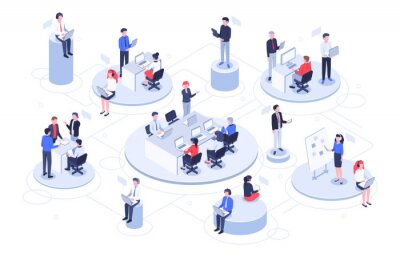 Obraz Isometric virtual office. Business people working together, technology companies workspace and teamwork platforms vector illustration