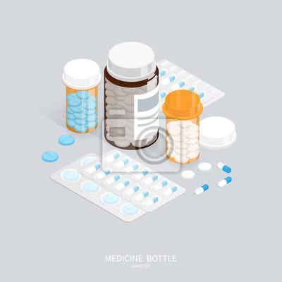 Obraz izometryczny medycyna pigułki butelki