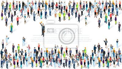Obraz Izometryczny tłum ludzi.