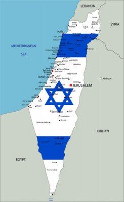 Obraz Izrael bardzo szczegółowe mapy polityczne z flag narodowych.