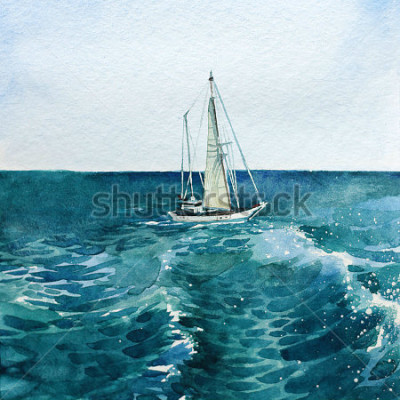 Obraz jacht. statek. morze. akwarela. to zdjęcie może być wykorzystane jako tło, niezależny obiekt, jako dekoracja, na pocztówkach, tapetach, drukowaniu