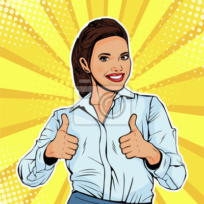 Obraz Jak pomyślny żeński bizneswoman pokazuje kciuk up. Jak gest. Ilustracja wektorowa w stylu retro komiks pop-artu