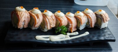 Obraz Japoński żywności rolki z łososia