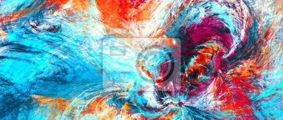 Obraz Jasne plamy artystyczne. Malarstwo abstrakcyjne kolor tekstury. Nowoczesny futurystyczny wzór. Niebieskie, czerwone i żółte tło dynamiczne. Fraktalna grafika do kreatywnego projektowania graficznego