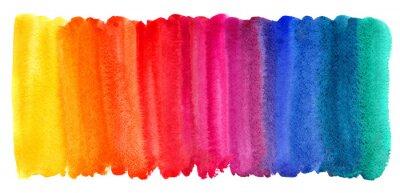 Obraz Jasny kolorowy akwarela plamy tło. Stubarwny szczotkarski uderzenie odizolowywający na bielu. Żywe akwarela paski różnych kolorach tęczy tekstury. Malowany abstrakcyjny szablon z nierówną krawędzią.