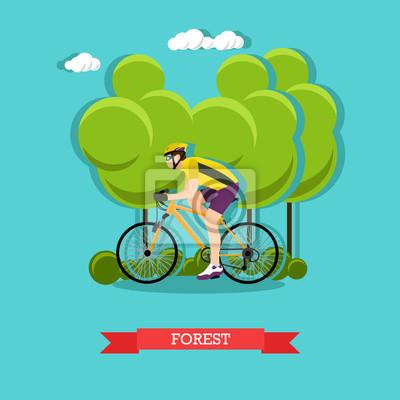 Jazda na rowerze w lesie, płaski wystrój
