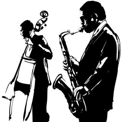 Obraz Jazz z saksofon i kontrabas