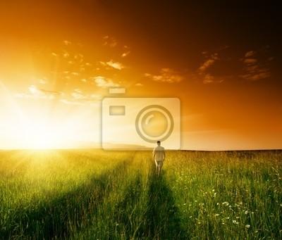jeden człowiek i zakres latem trawa