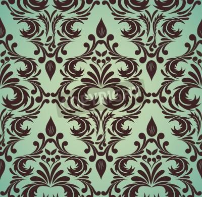 Obraz Jednolite adamaszek wzór w kolorach brązu i zieleni