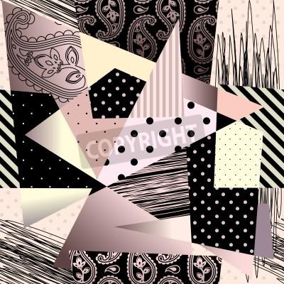 Obraz Jednolite tło wzór. Dachówka będzie w nieskończoność. Abstrakcyjne tło geometryczne w stylu kubizmu.