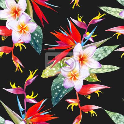 Jednolite tło z akwareli tropikalnych kwiatów.