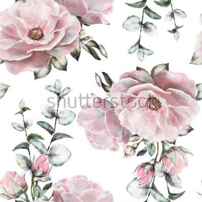Obraz Jednolite wzór z białymi kwiatami i liście na białym tle, wzór kwiatowy, kwiat róży w pastelowym kolorze, bez wzoru kwiatowego, karty lub tkaniny