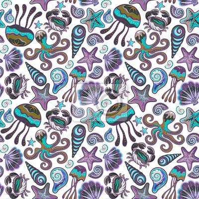 Jednolite wzór z kolorowych stworzeń morskich. Morskie muszle tła meduzy Octopus rozgwiazda kraba.