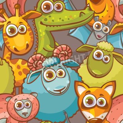 Obraz Jednolite wzór z kreskówki śmieszne zwierzęcia. Dziecinne tapety wektorowych.