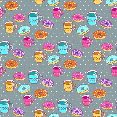 Obraz Jednolite wzór z kubkami i ciastek