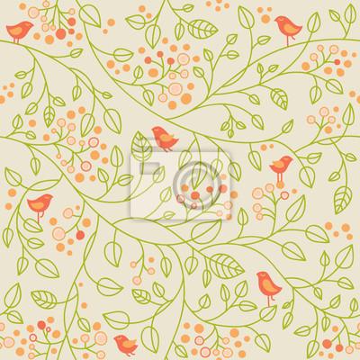 Jednolite wzór z małych ptaków i jagody