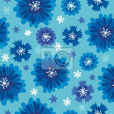 Jednolite wzór z niebieskimi kwiatami i chabry