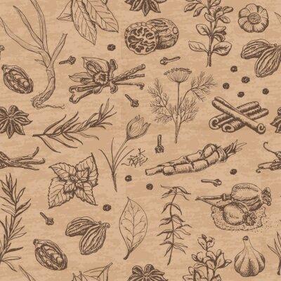 Obraz Jednolite wzór z przyprawami i ziołami na beżowym tle