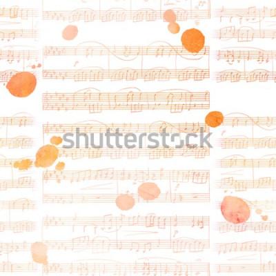 Obraz Jednolity wzór tła ze złotymi tonami nuty i plamy atramentu, abstrakcyjny artystyczny powtórka