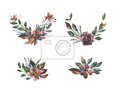 Jej kwiaty. Akwarela kompozycje kwiatowe i liście