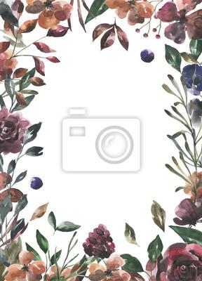 Jej kwiaty. Akwarela kwiaty i liście geometryczne ramki # 1