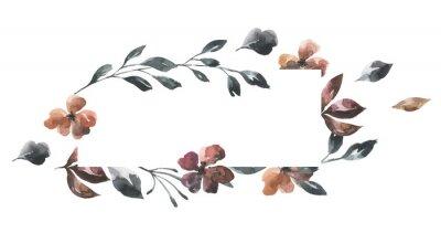 Jej kwiaty. Akwarela kwiaty i liście geometryczne ramki # 2