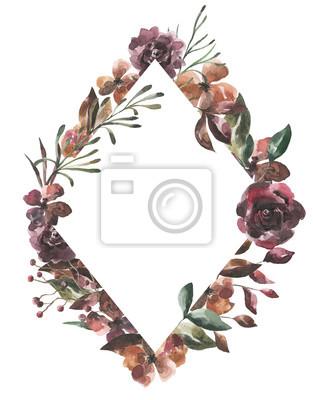 Jej kwiaty. Akwarela kwiaty i liście geometryczne ramki # 3
