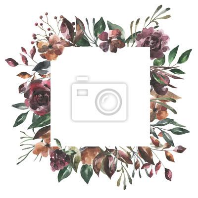 Jej kwiaty. Akwarela kwiaty i liście geometryczne ramki # 4
