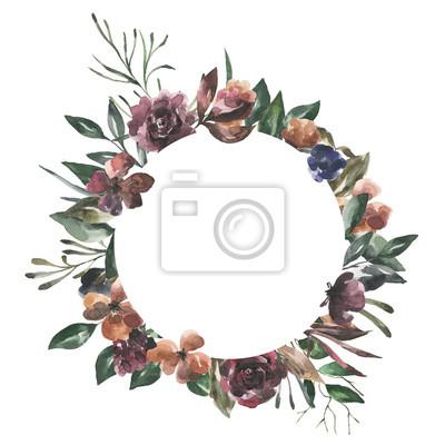 Jej kwiaty. Akwarela kwiaty i liście geometryczne ramki # 5