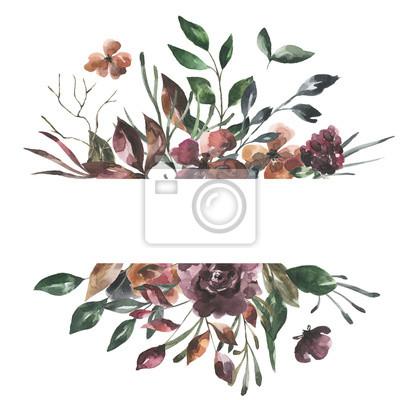 Jej kwiaty. Akwarela kwiaty i liście geometryczne ramki # 6