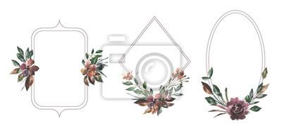Jej kwiaty. Akwarela kwiaty i liście kompozycje i ramki