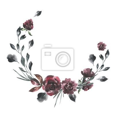 Jej kwiaty. Akwarela kwiaty i liście wieniec # 1