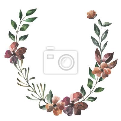 Jej kwiaty. Akwarela kwiaty i liście wieniec # 2