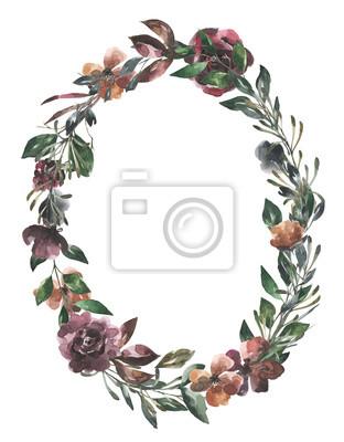 Jej kwiaty. Akwarela kwiaty i liście wieniec # 3