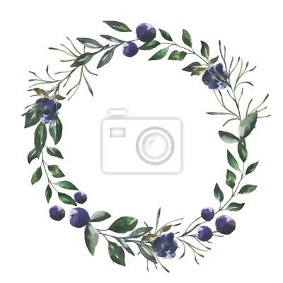 Jej kwiaty. Akwarela kwiaty i liście wieniec # 4
