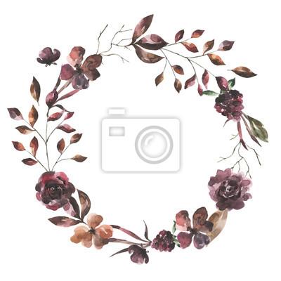 Jej kwiaty. Akwarela kwiaty i liście wieniec # 5